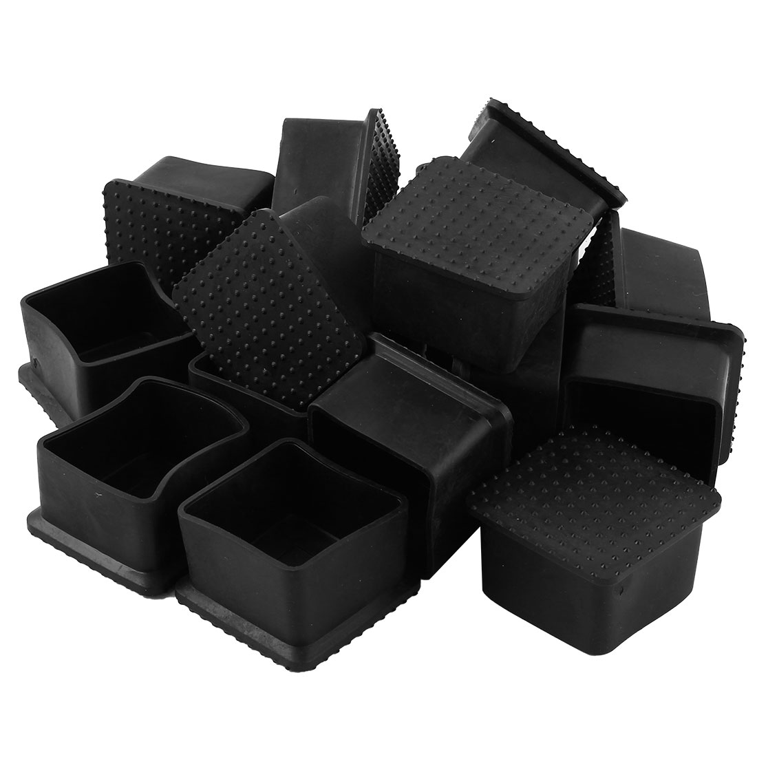 Office Rubber Furniture Table Foot Dirt Protector Cover Black 40mm x 40mm 17 Pcs