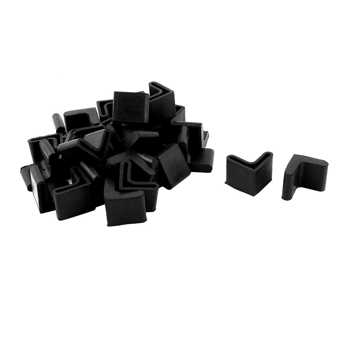Home Rubber L Shape Furniture Table Foot Cover Pads Black 25mm x 25mm 29 Pcs