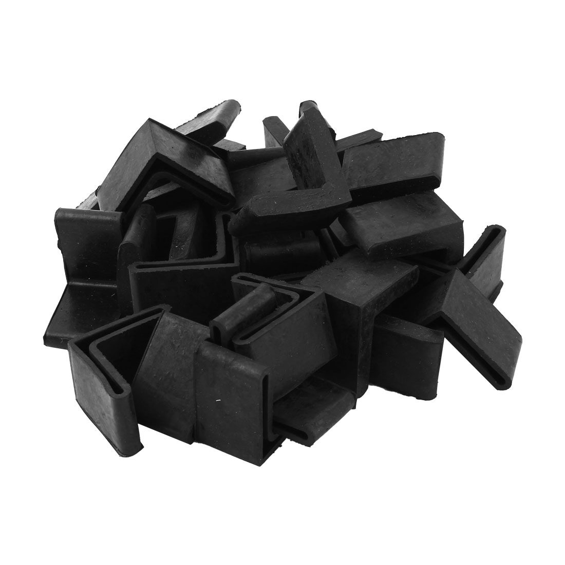 Home Rubber L Shape Furniture Foot Protector Cover Black 40mm x 40mm 29 Pcs