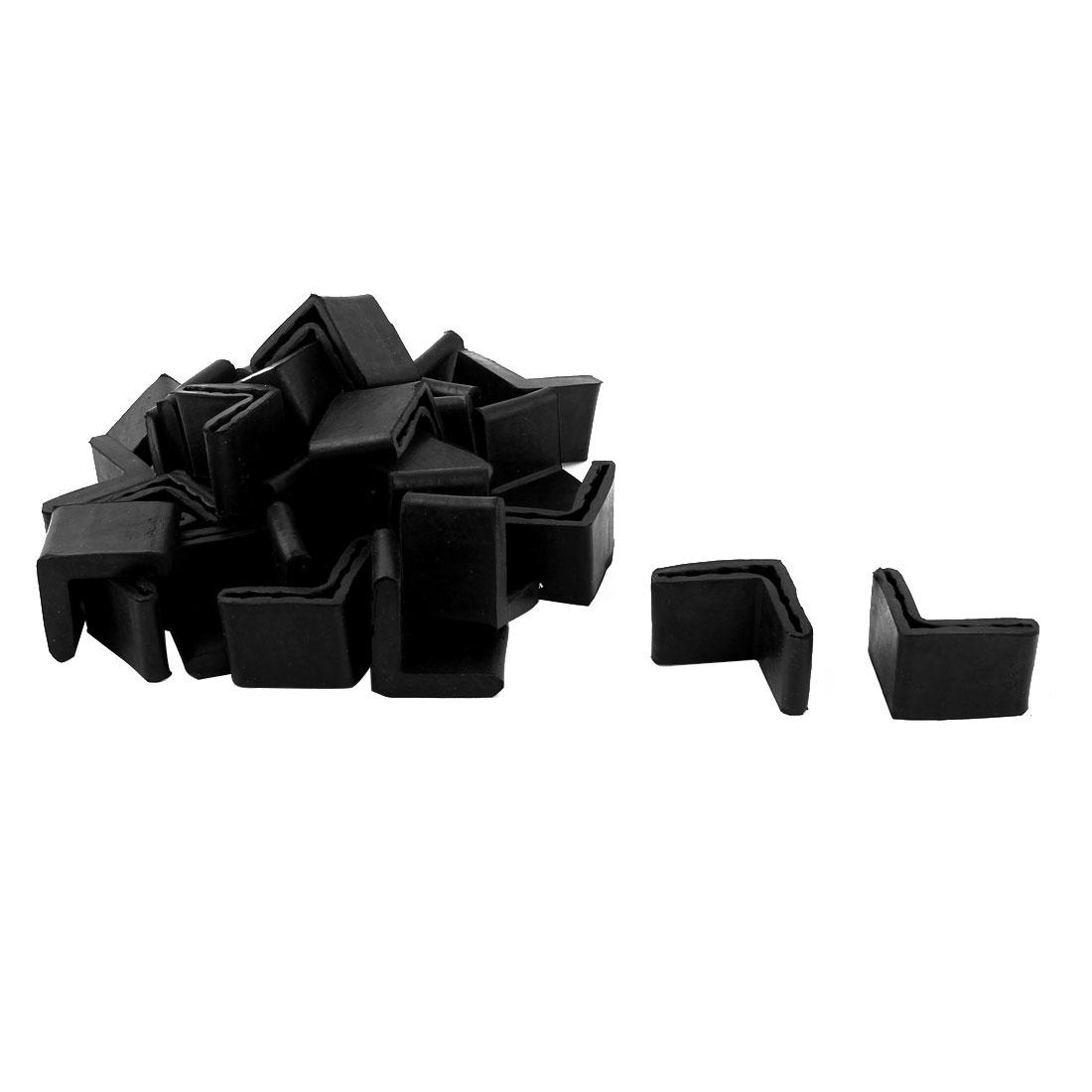 Office Rubber L Shape Furniture Foot Anti-slip Cover Black 35mm x 35mm 29 Pcs
