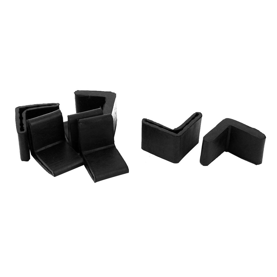 Office Rubber L Shape Furniture Foot Anti-slip Cover Black 35mm x 35mm 7 Pcs