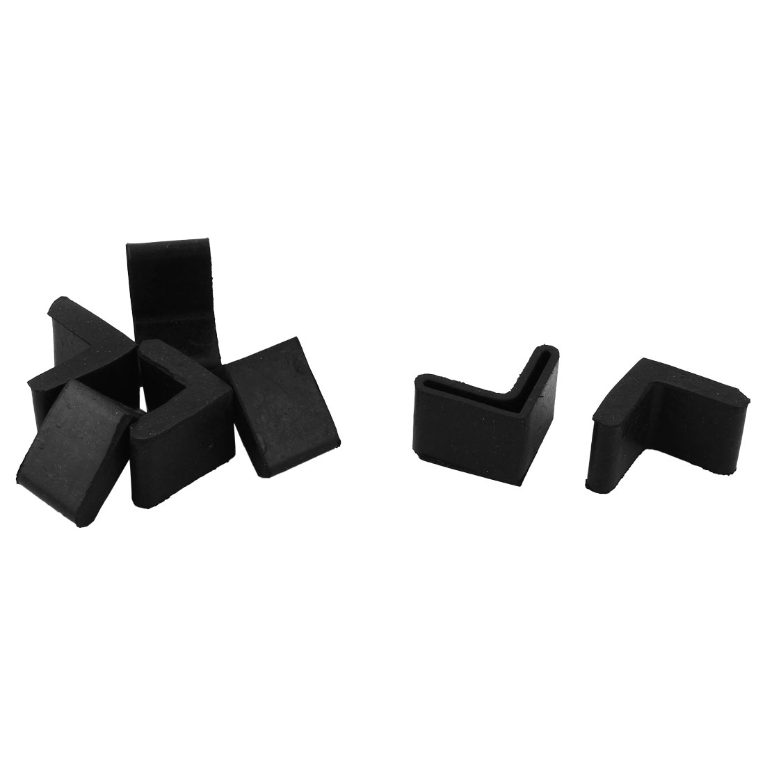 Home Rubber L Shape Furniture Foot Dirt Protector Cover Black 30mm x 30mm 7 Pcs