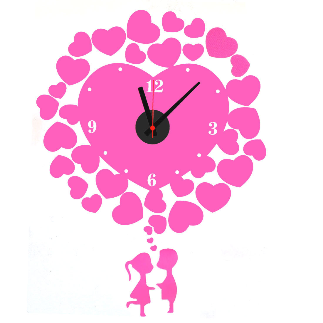 Living Room PVC Heart Print DIY Self-adhesive Removable Wall Sticker Decor Clock