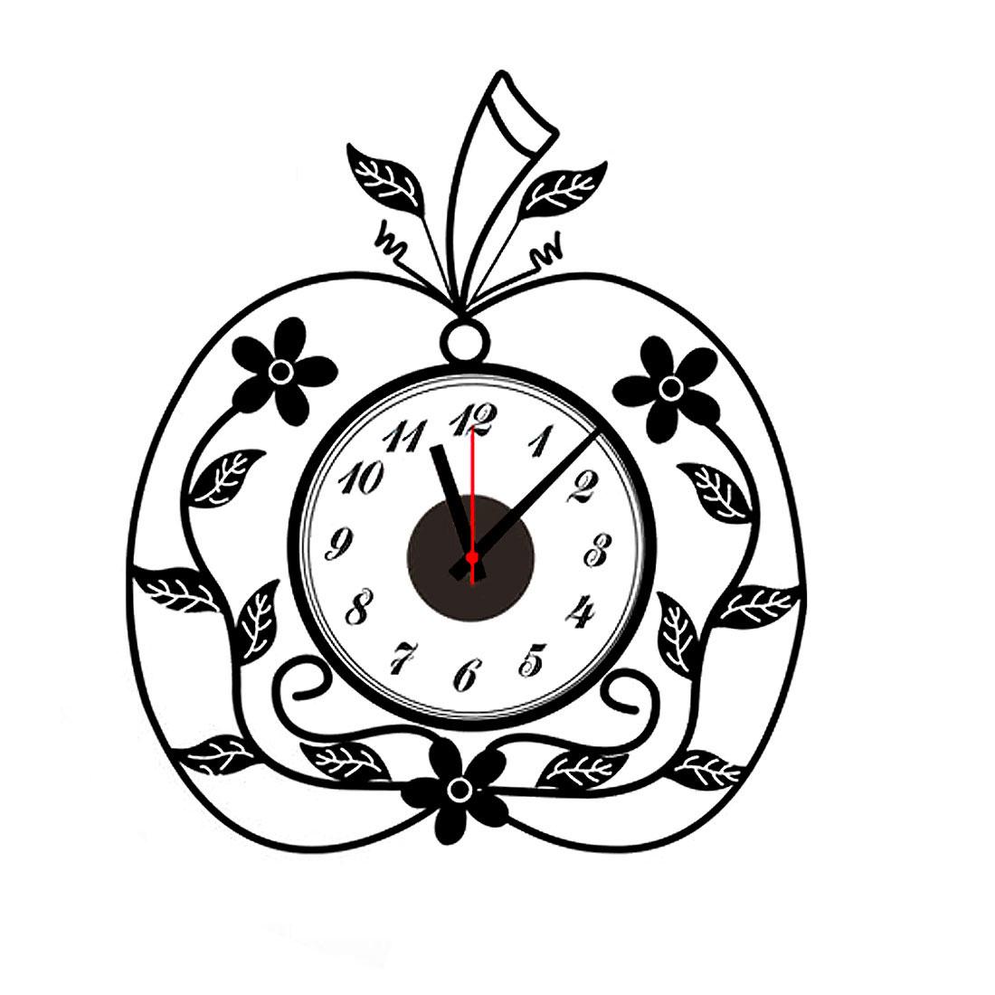 Home Living Room Apple Print DIY Self-adhesive Removable Wall Sticker Decor Clock
