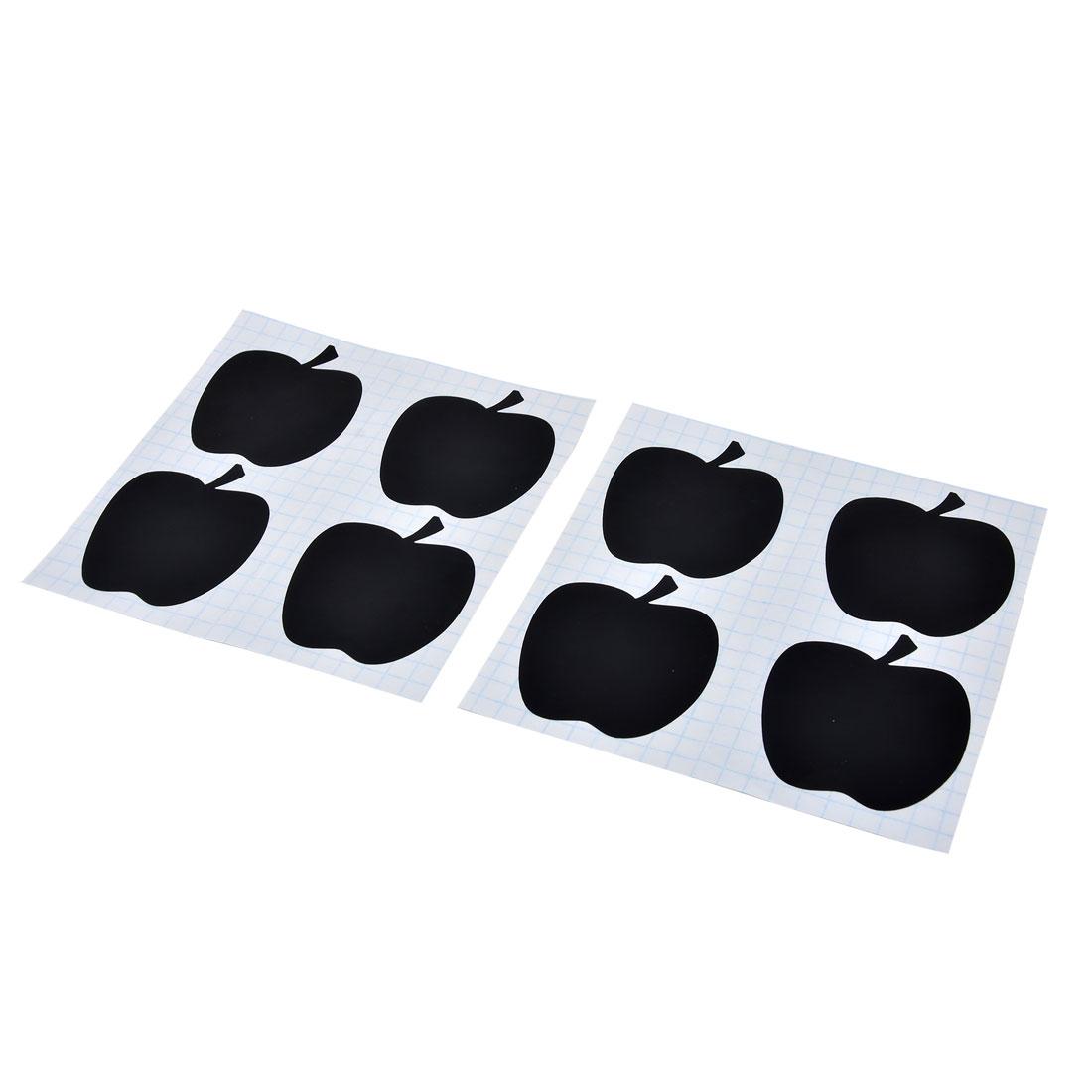 Home PVC Apple Pattern Glass Bottle Blackboard Stickers Labels Tags Black 8 Pcs