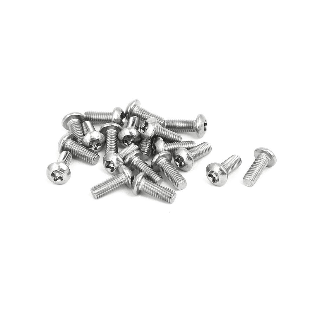 M3x8mm 304 Stainless Steel Button Head Torx Five-Lobe Tamper Proof Screw 20pcs