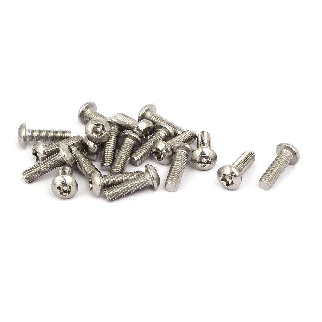 M3x10mm 304 Stainless Steel Button Head Torx Five-Lobe Tamper Screw 20pcs