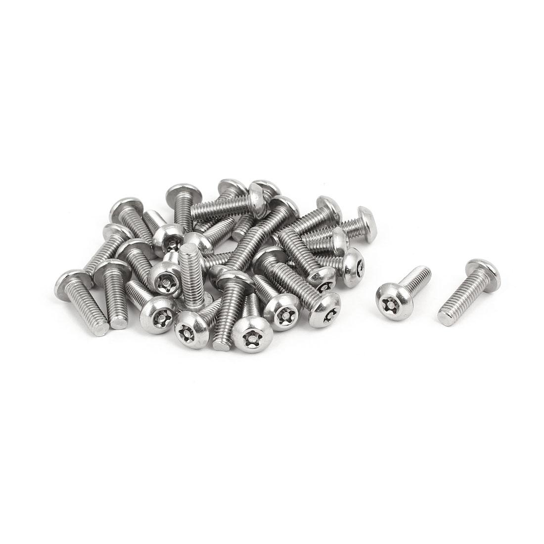 M5x16mm 304 Stainless Steel Button Head Torx Five-Lobe Tamper Screw 30pcs