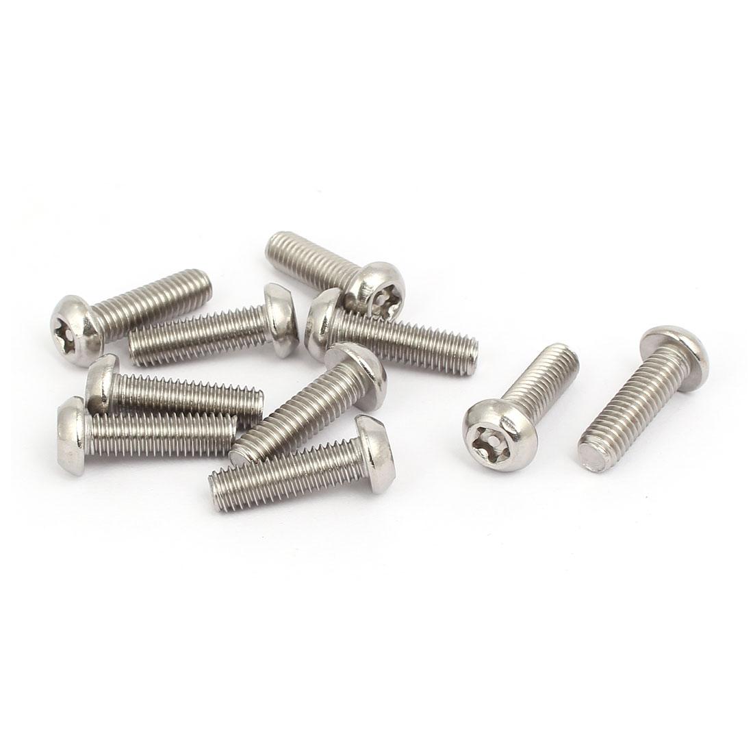 M6x20mm Stainless Steel Button Head Torx Five-Lobe Tamper Screw T30 Drive 10pcs