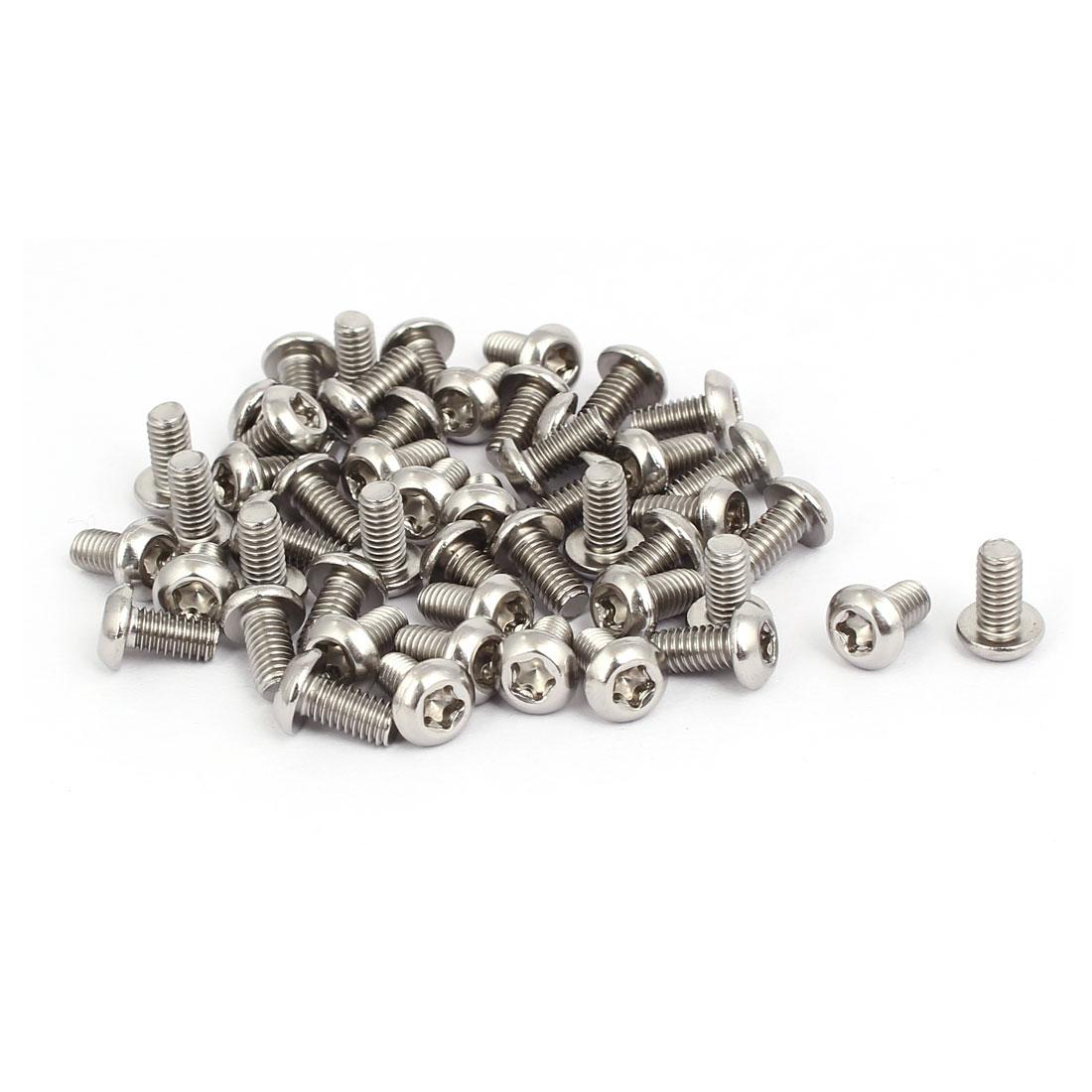 M4x8mm 304 Stainless Steel Fully Thread Button Head Torx Five-Lobe Screw 50pcs