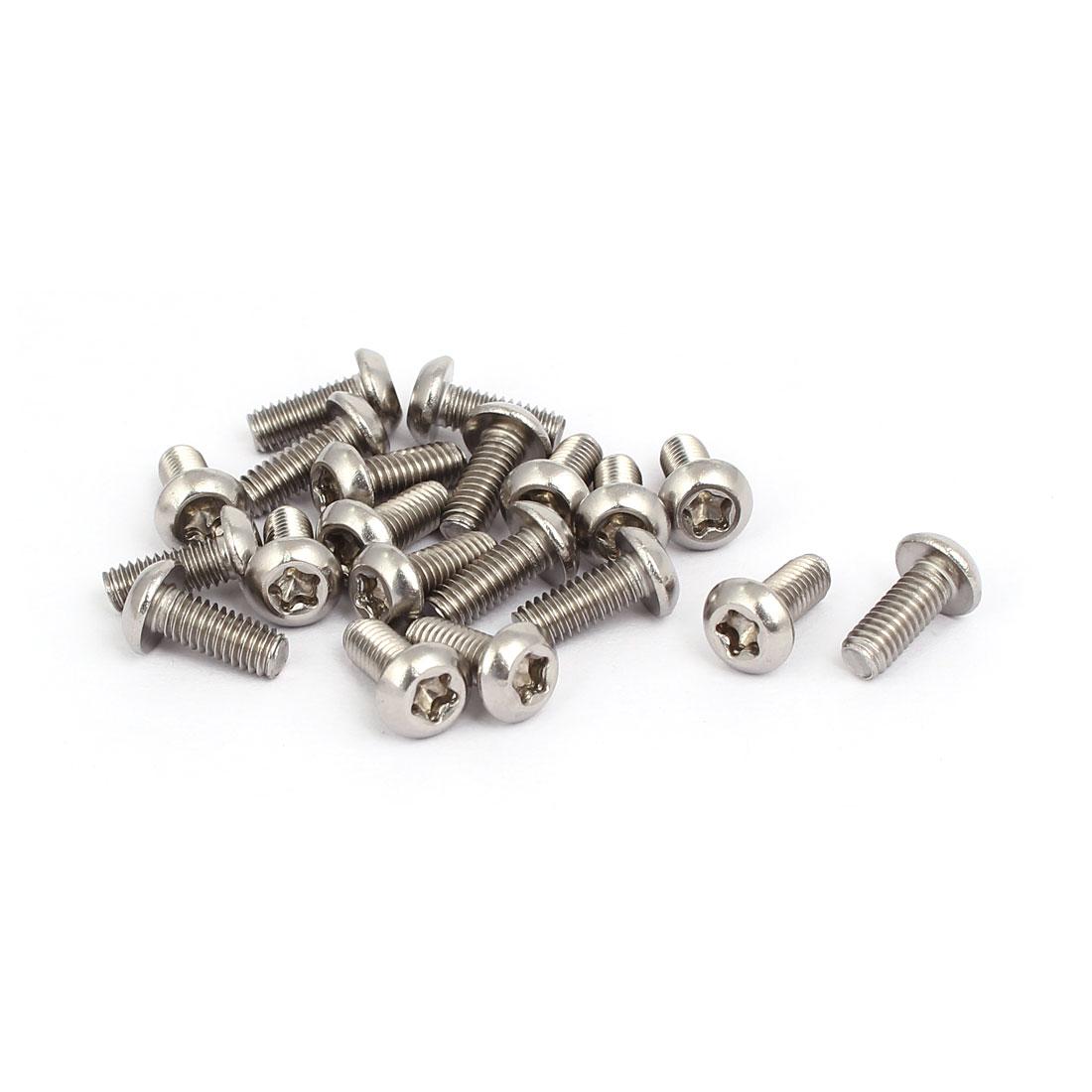 M4x10mm 304 Stainless Steel Fully Thread Button Head Torx Five-Lobe Screw 20pcs