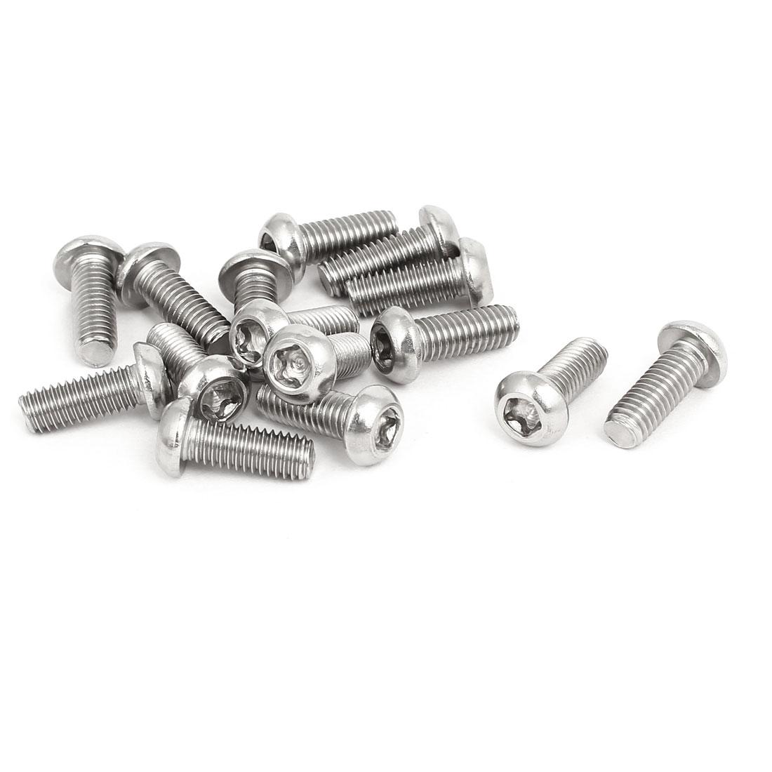 M6x16mm 304 Stainless Steel Fully Thread Button Head Torx Five-Lobe Screw 15pcs