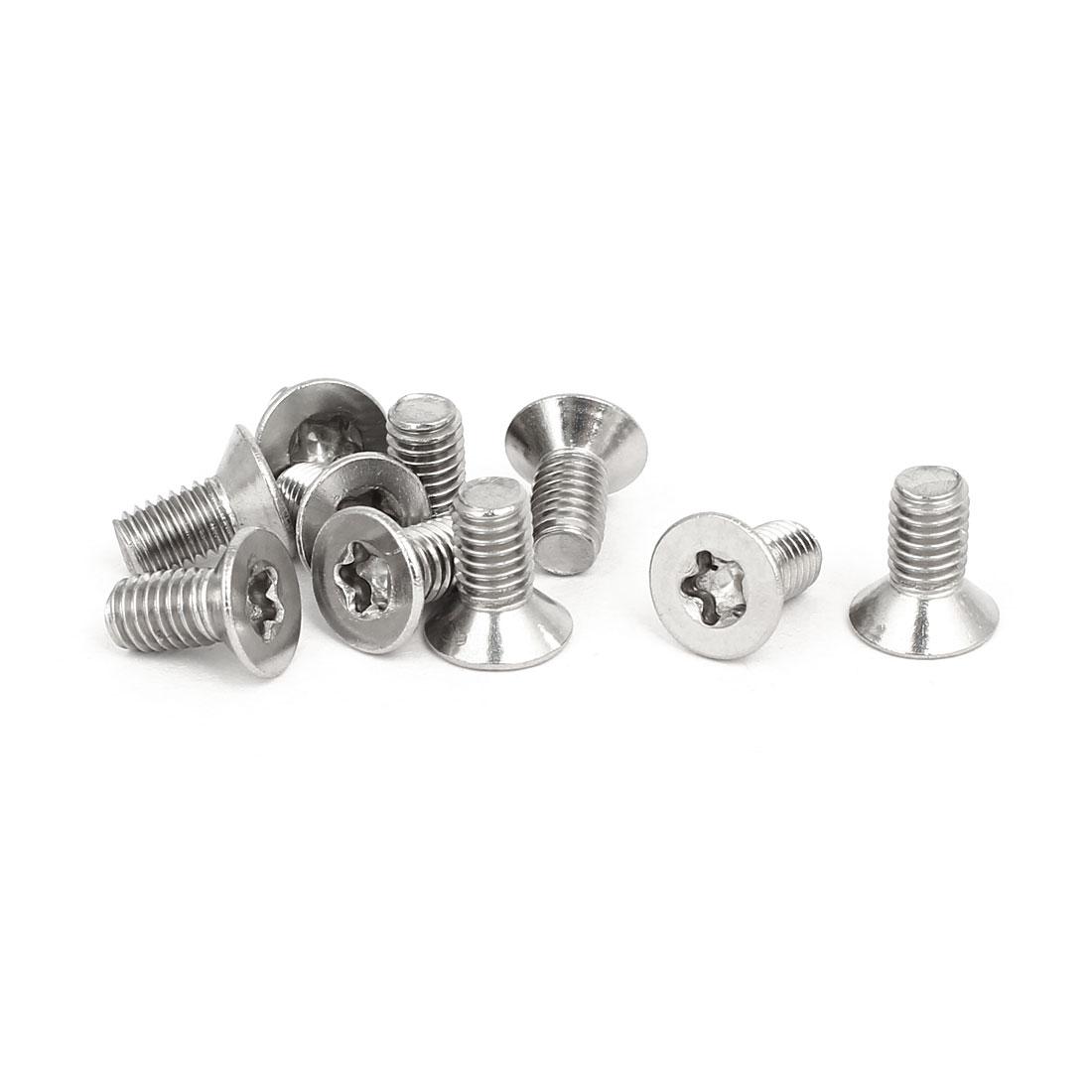 M5x10mm 304 Stainless Steel Countersunk Flat Head Torx Five-Lobe Screw 10pcs