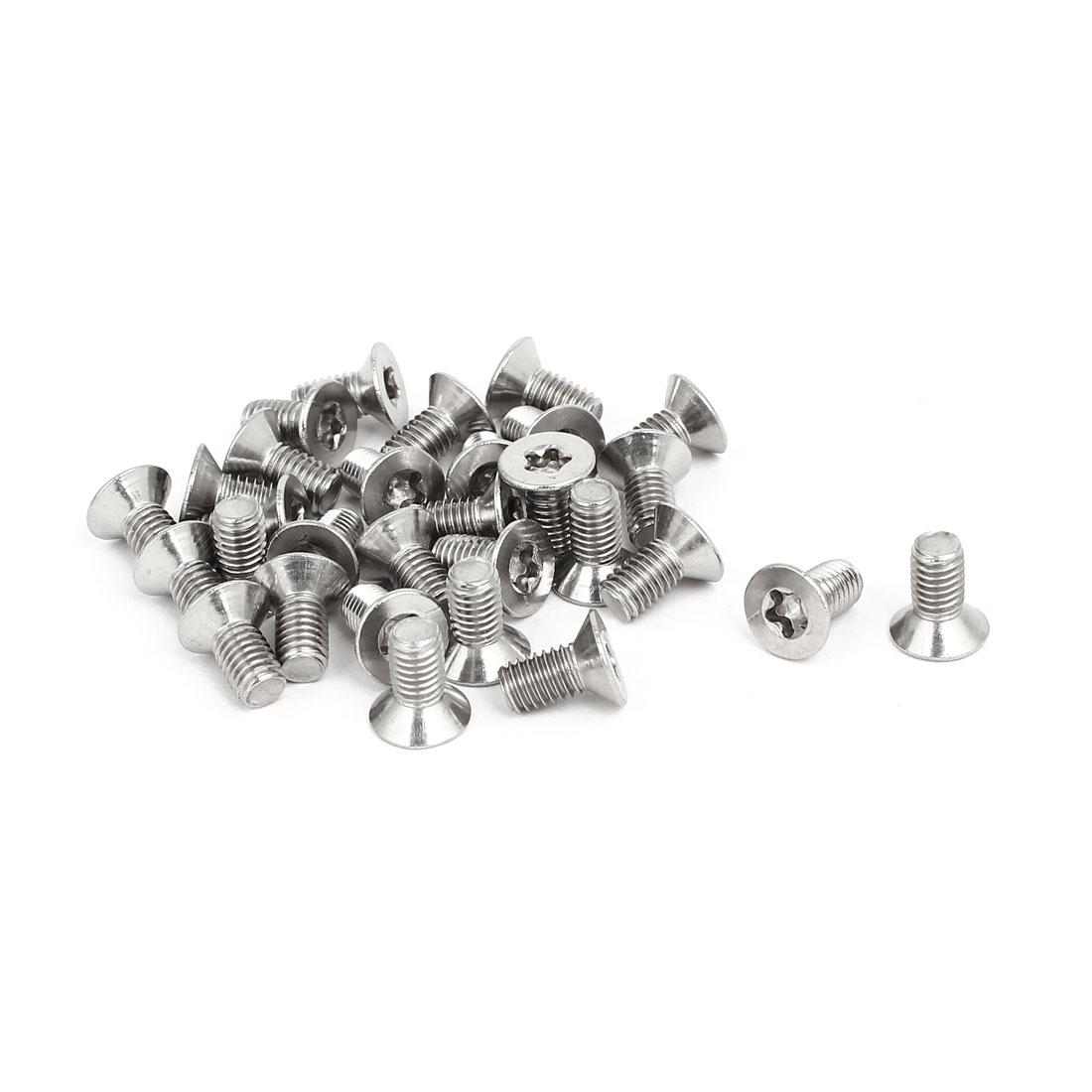 M5x10mm 304 Stainless Steel Flat Countersunk Head Torx Five-Lobe Screw 30pcs