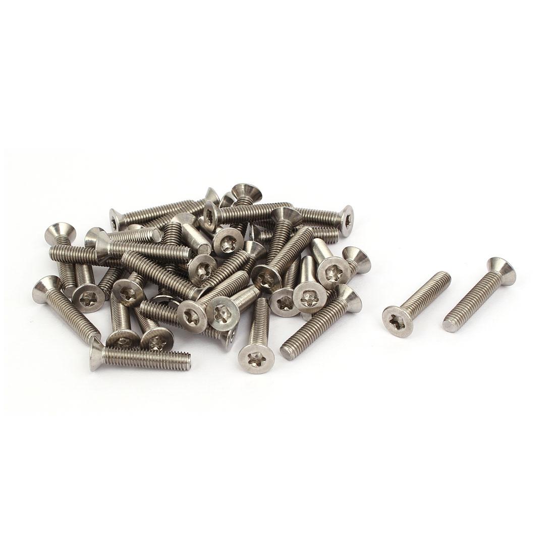 M5x25mm 304 Stainless Steel Countersunk Flat Head Torx Five-Lobe Screw 40pcs
