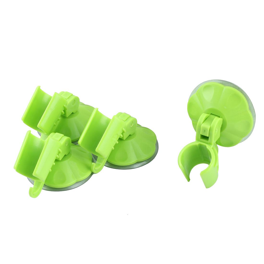 Apartment Plastic Sucker Wall Mounted Adjustable Shower Head Holder Green 4pcs