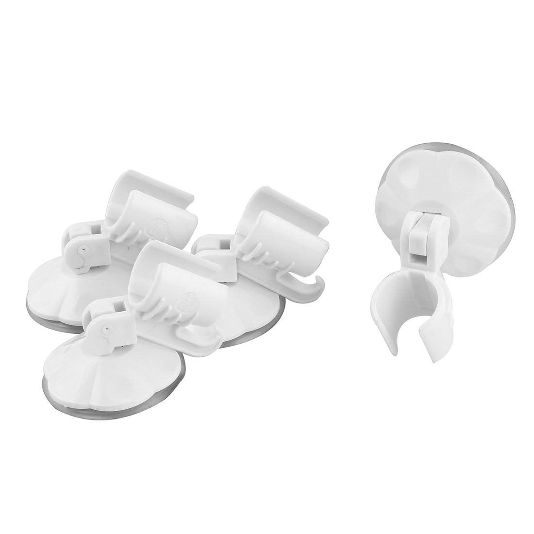 Apartment Plastic Sucker Wall Mounted Adjustable Shower Head Holder White 4pcs