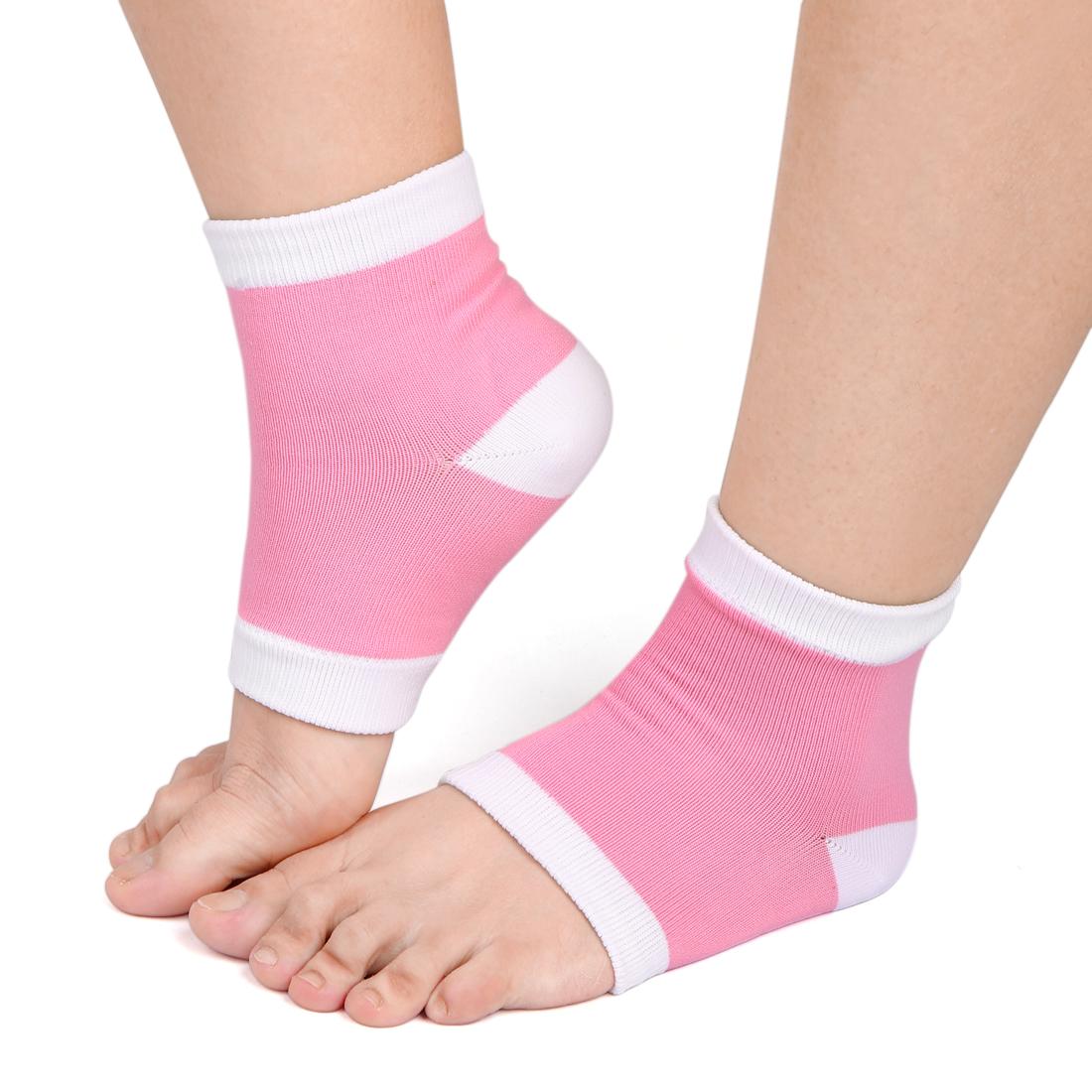 1 Pair Pink Half Cover Sleeves Moisturizing Cracked Skin Refine Gel Heel Socks