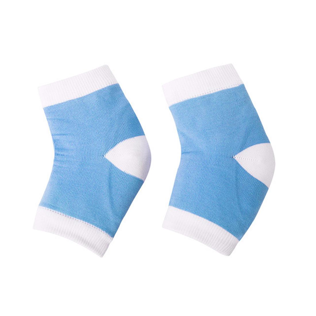 1 Pair Blue Half Cover Sleeves Moisturizing Cracked Skin Refine Gel Heel Socks