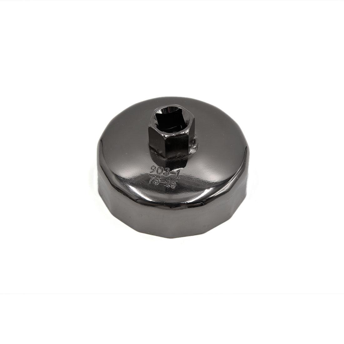 Black Metal 75mm Inner Dia 15 Flutes Car Oil Filter Cap Wrench Socket Remover