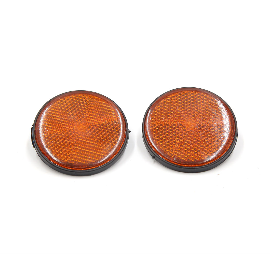 2 Pcs 56mm Dia Plastic Round Reflective Warning Plate Reflector for Motorcycle