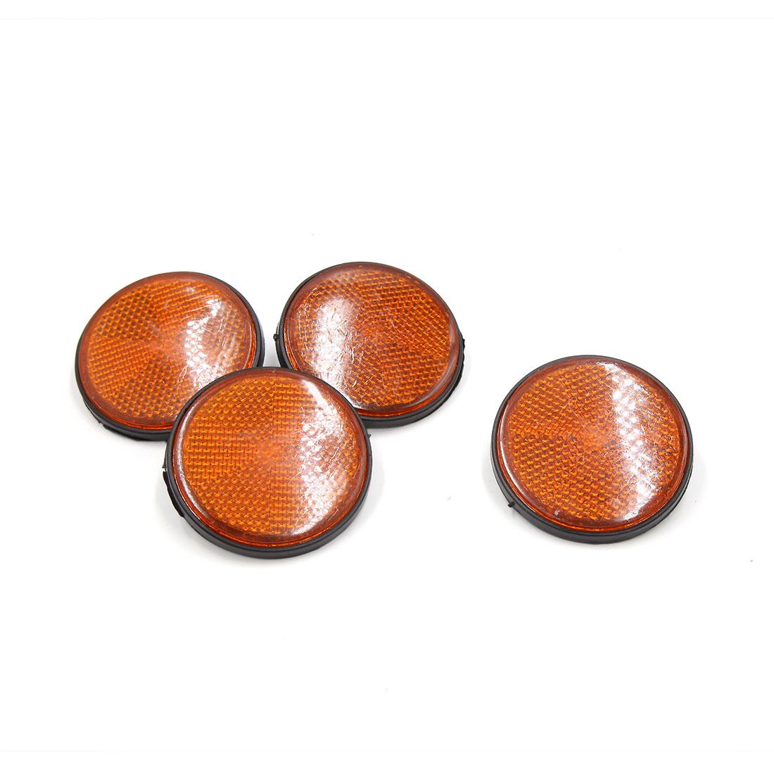 4 Pcs 56mm Dia Orange Black Plastic Round Reflective Warning Plate Reflector