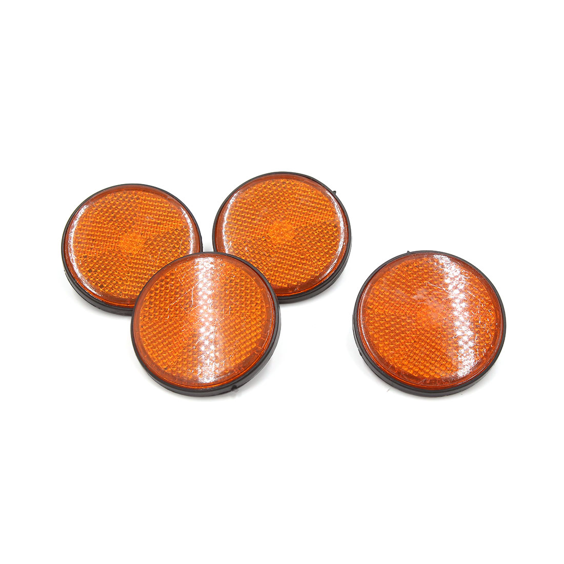 4 Pcs 56mm Dia Orange Black Plastic Round Reflective Reflector for Motorcycle