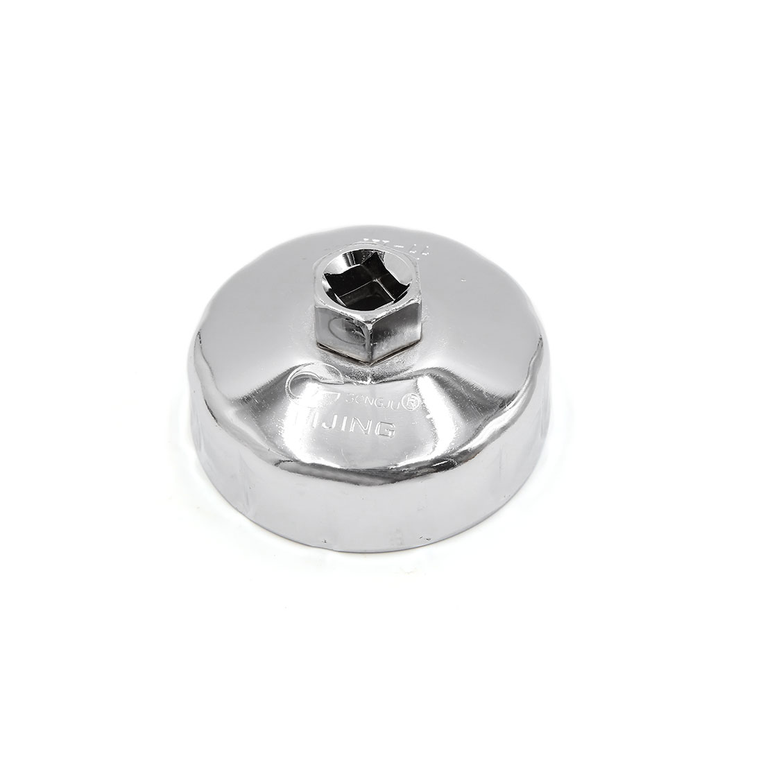 Silver Tone Steel 77mm Inner Dia 12 Flutes Car Oil Filter Cap Wrench Socket Remover