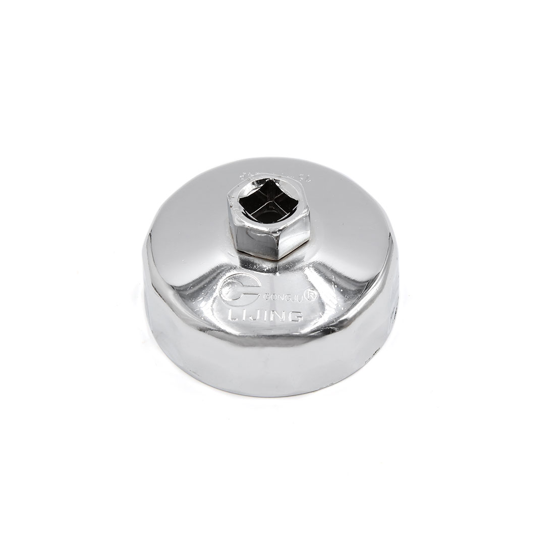 Silver Tone Steel 74.3mm Inner Dia 14 Flutes Car Oil Filter Cap Wrench Socket Remover