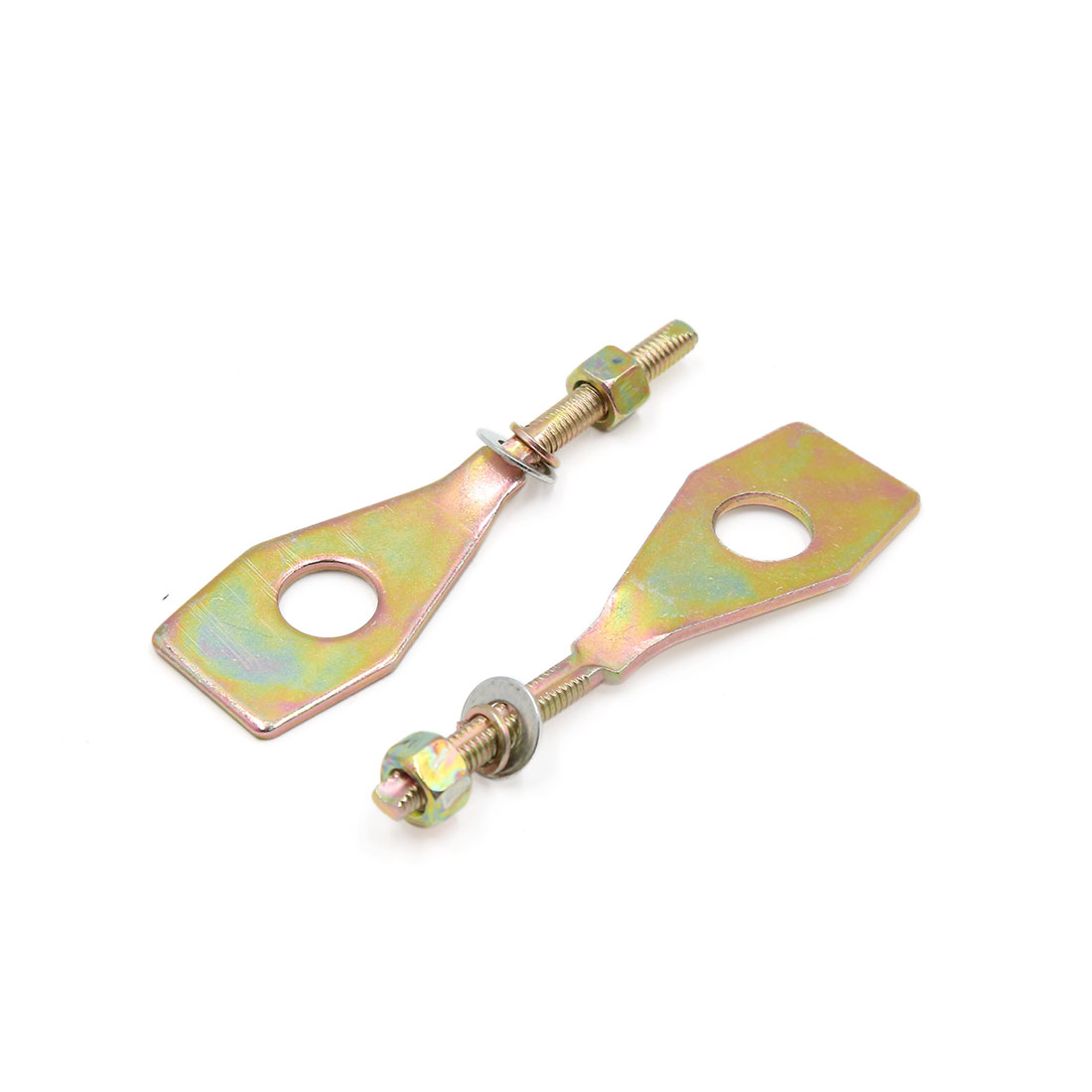 Pair 13mm Dia Hole Copper Tone Metal Chain Axle Adjuster Tensioner for Motorcycle