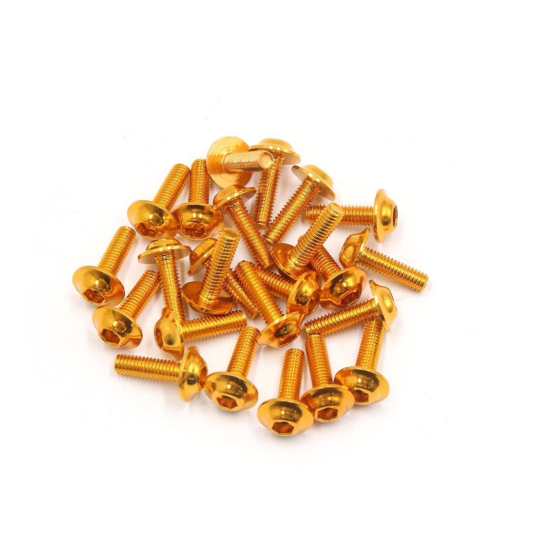 24 Pcs Gold Tone 6mm Thread Dia Aluminum Alloy Fairing Hexagon Bolts Screws for Motorcycle