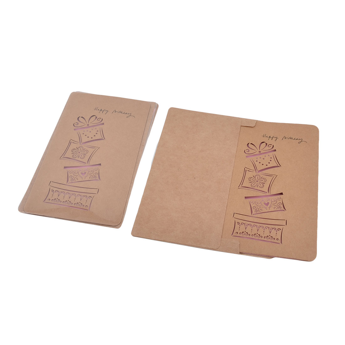 Christmas Wedding Kraft Paper Gift Box Pattern Hollow Out Design Invitation Greeting Card 3 Sets