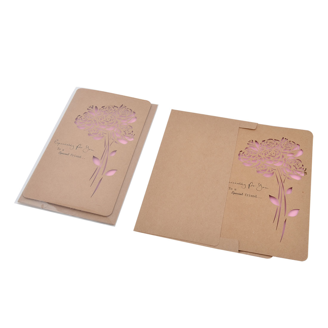 Christmas Wedding Kraft Paper Rose Pattern Hollow Out Design Invitation Greeting Card 3 Sets