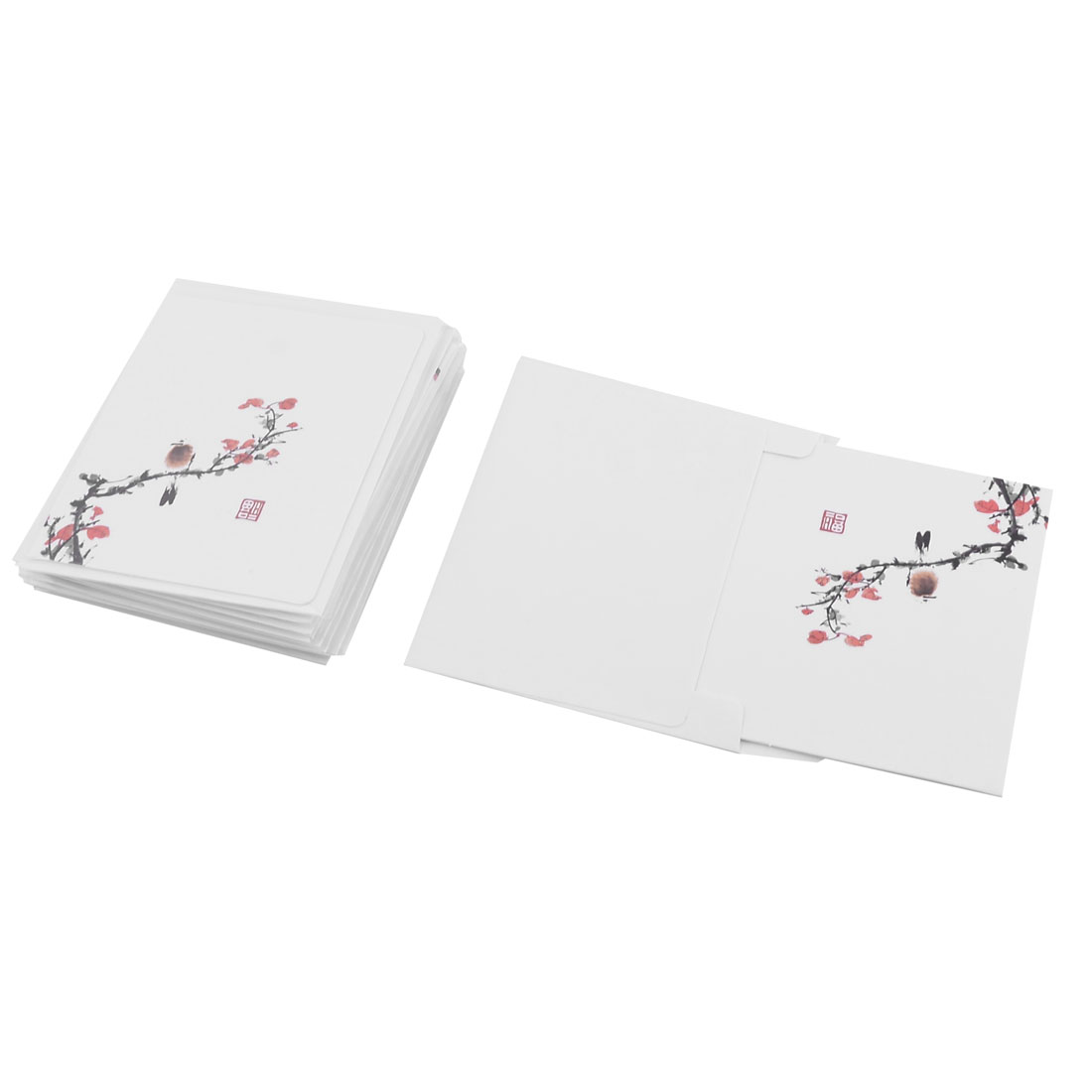 Festival Thanksgiving Day Paper Plum Blossom Pattern Handmade Invitation Greeting Card Craft 10 Sets