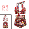 Women Retro Ruched Hight Waist Bikini Shirred Floral Halter Bathing Suit Red US2-4