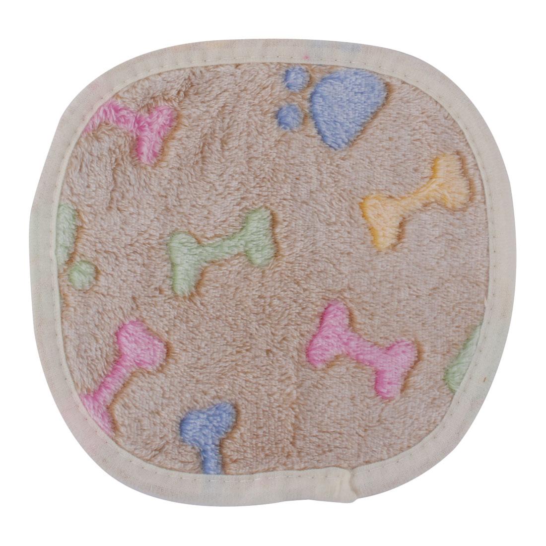 Pet Flannel Bone Print Hedgehog Bed Cushion Soft Warm Blanket Light Brown