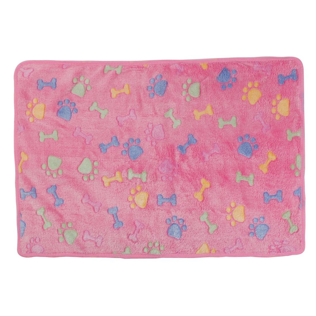 Pet Flannel Bone Print Doggy Bed Cushion Soft Warm Sleeping Mat Dog Blanket Pink