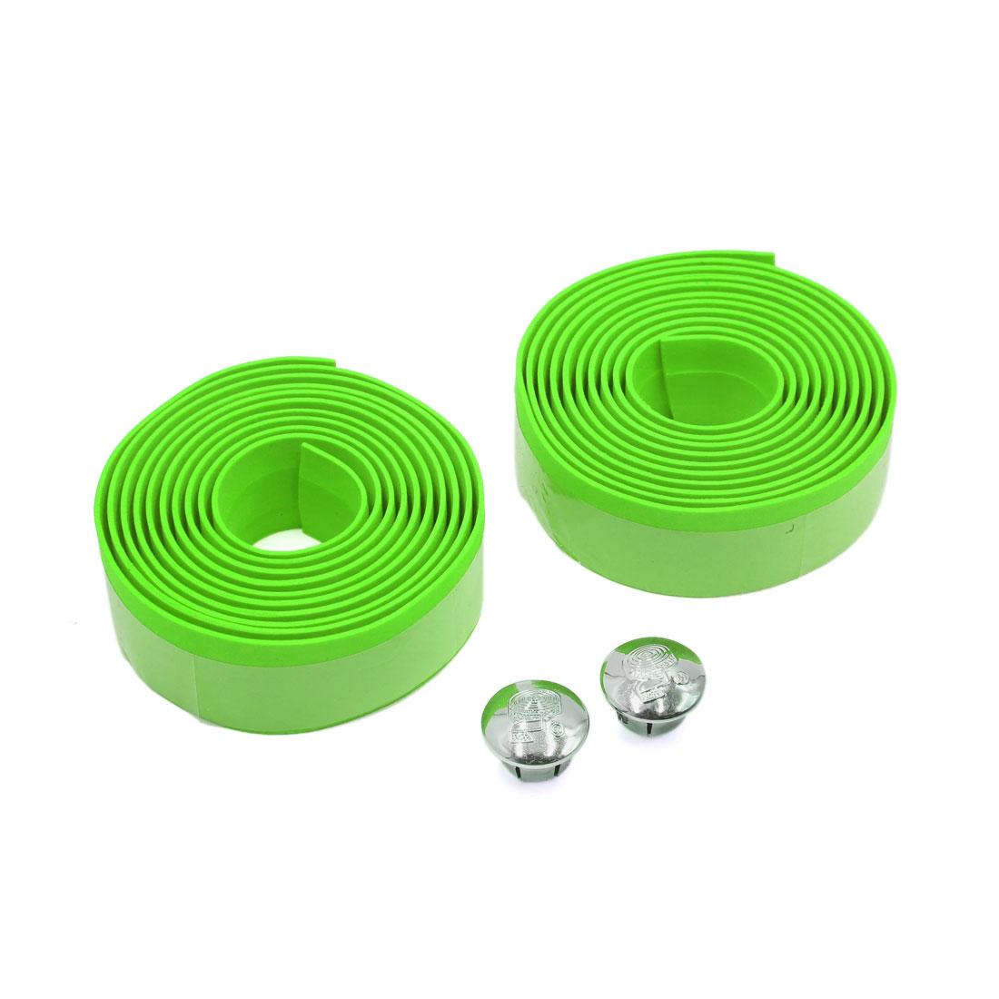 2 Pcs Green Foam Anti Slip Handlebar Tape Bar Grip Wrap for Road Bike Bicycle Cycling