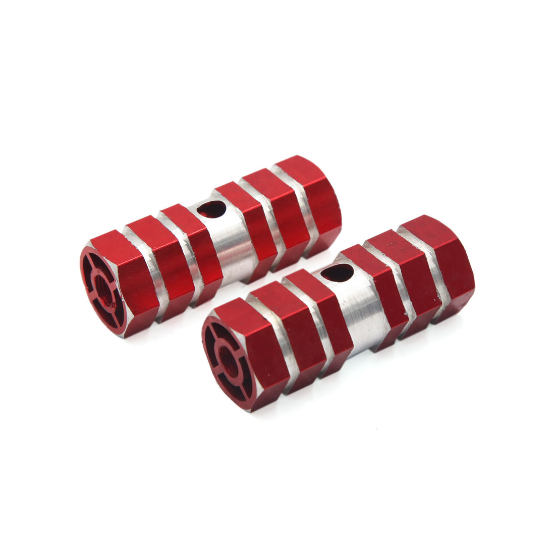 2 Pcs Red Aluminum Alloy Hexagonal Anti Slip Axle Foot Pegs for Cycling Bike Bicycle