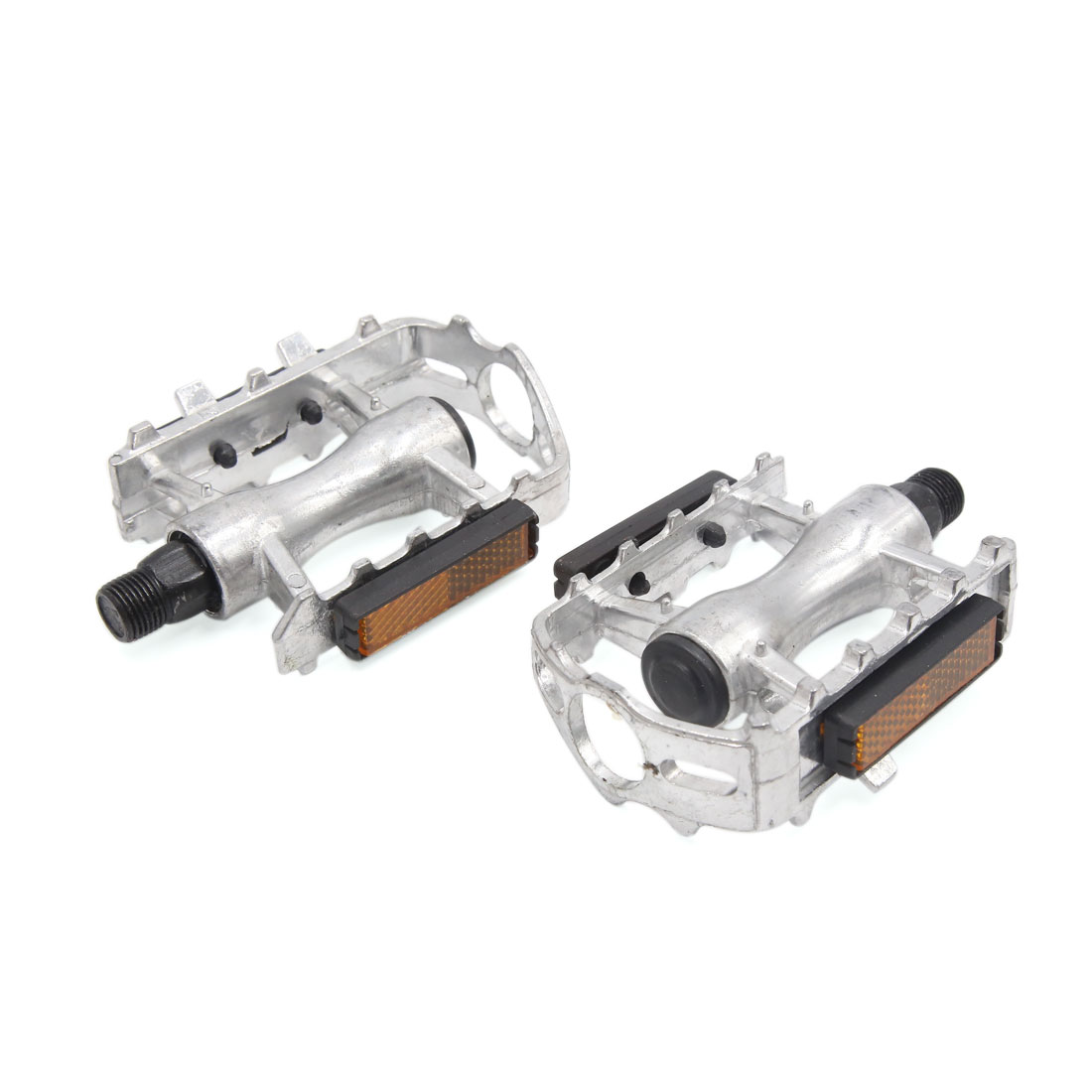2 Pcs Silver Tone Aluminum Alloy Anti Slip Axle Platform Pedals for Bike Bicycle Cycling