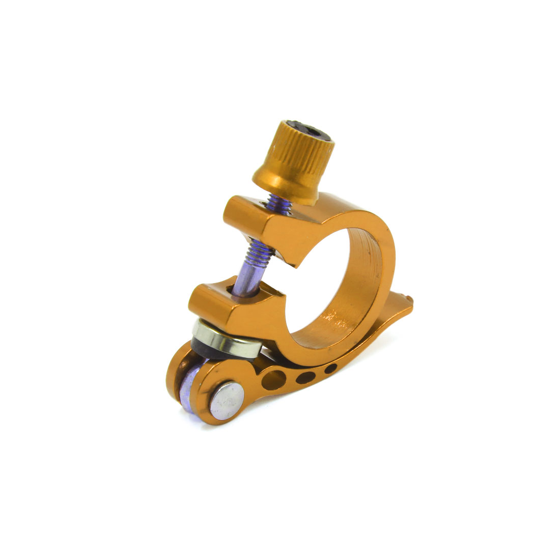 28.6mm Dia Gold Tone Aluminum Alloy Bicycle Bike MTB Quick Release Seat Post Clamp