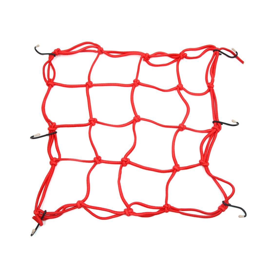 13'' x 13'' Red Elastic Helmet Cargo Luggage Storage Mesh Bungee Net for Bike Bicycle
