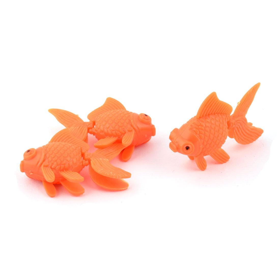 Aquarium Fish Tank Plastic Floating Goldfishes Decoration Ornament Orange 3pcs
