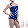 Women One-Piece Swimsuit Retro Vintage Bathing Suit Push Up Swimwear Anchor US 8