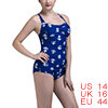 Women One-Piece Swimsuit Retro Vintage Bathing Suit Push Up Swimwear Anchor US 14