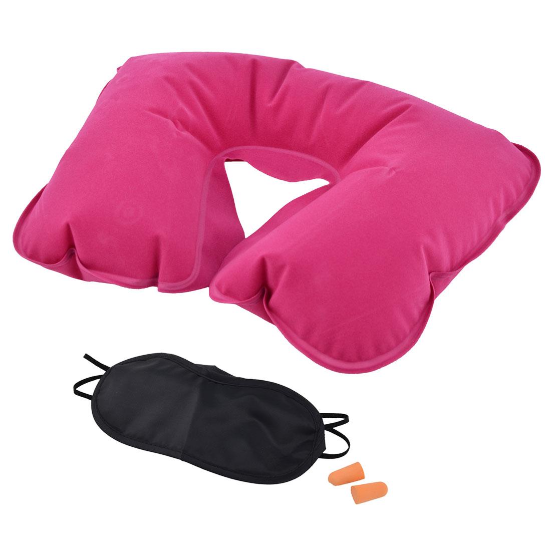 U Shape Pillow Sleeping Relax Inflatable Neck Eyes Earphone Fuchsia 3 in 1