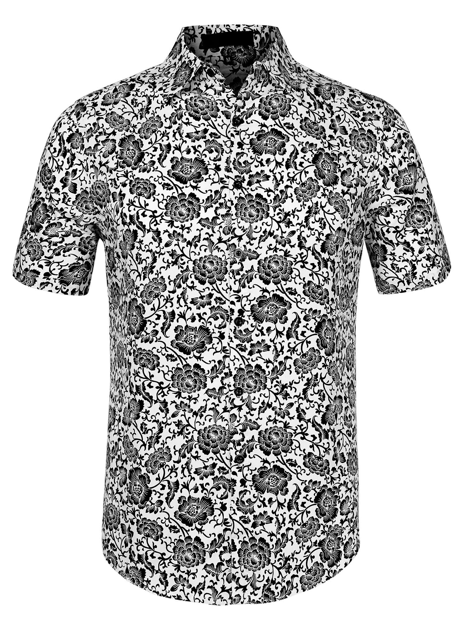 Men Summer Short Sleeves Button Front Floral Print Cotton Hawaiian Shirt White L
