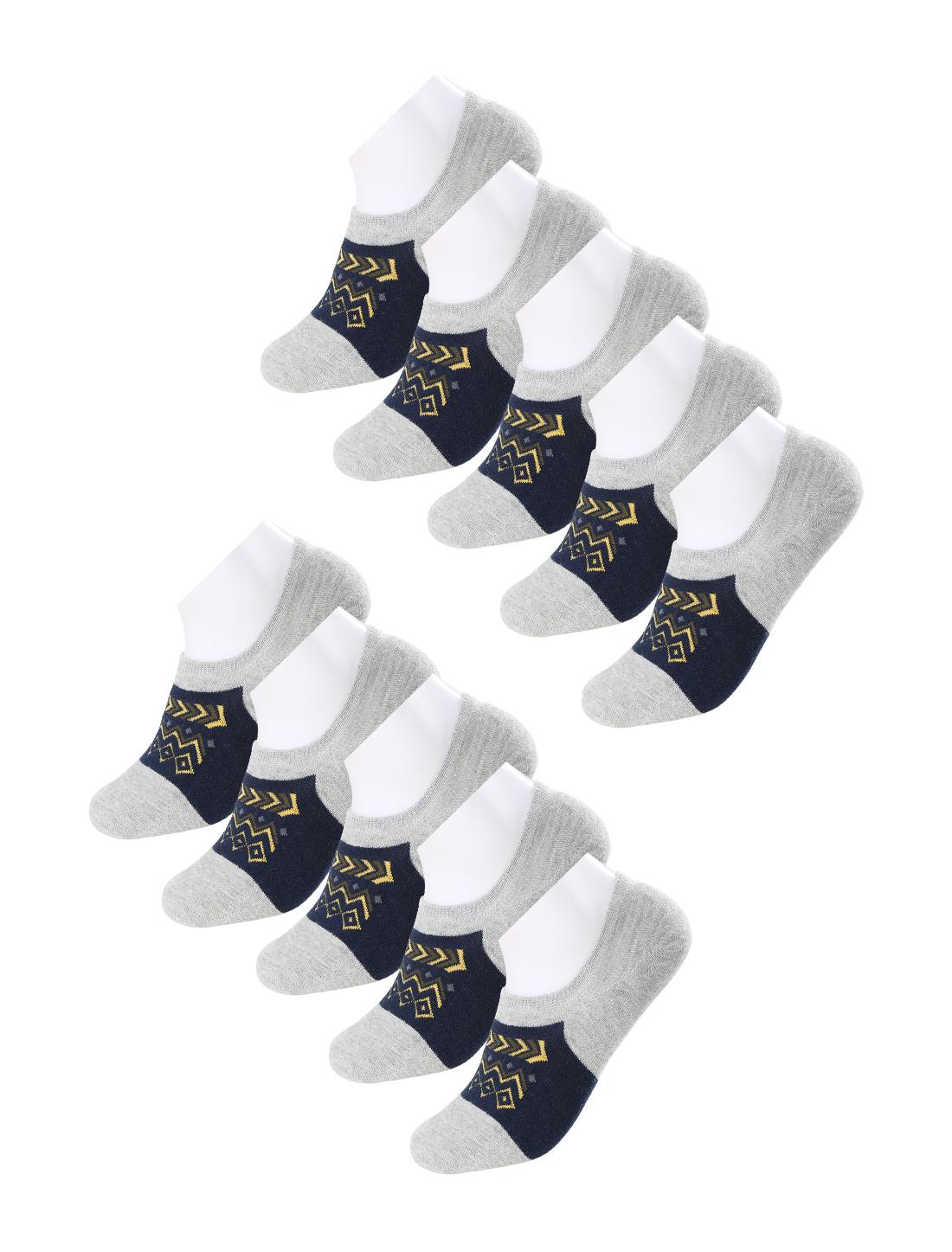 Men 10 pair Folk Pattern Color Block No Show Liner Boat Socks 13-15 Gray