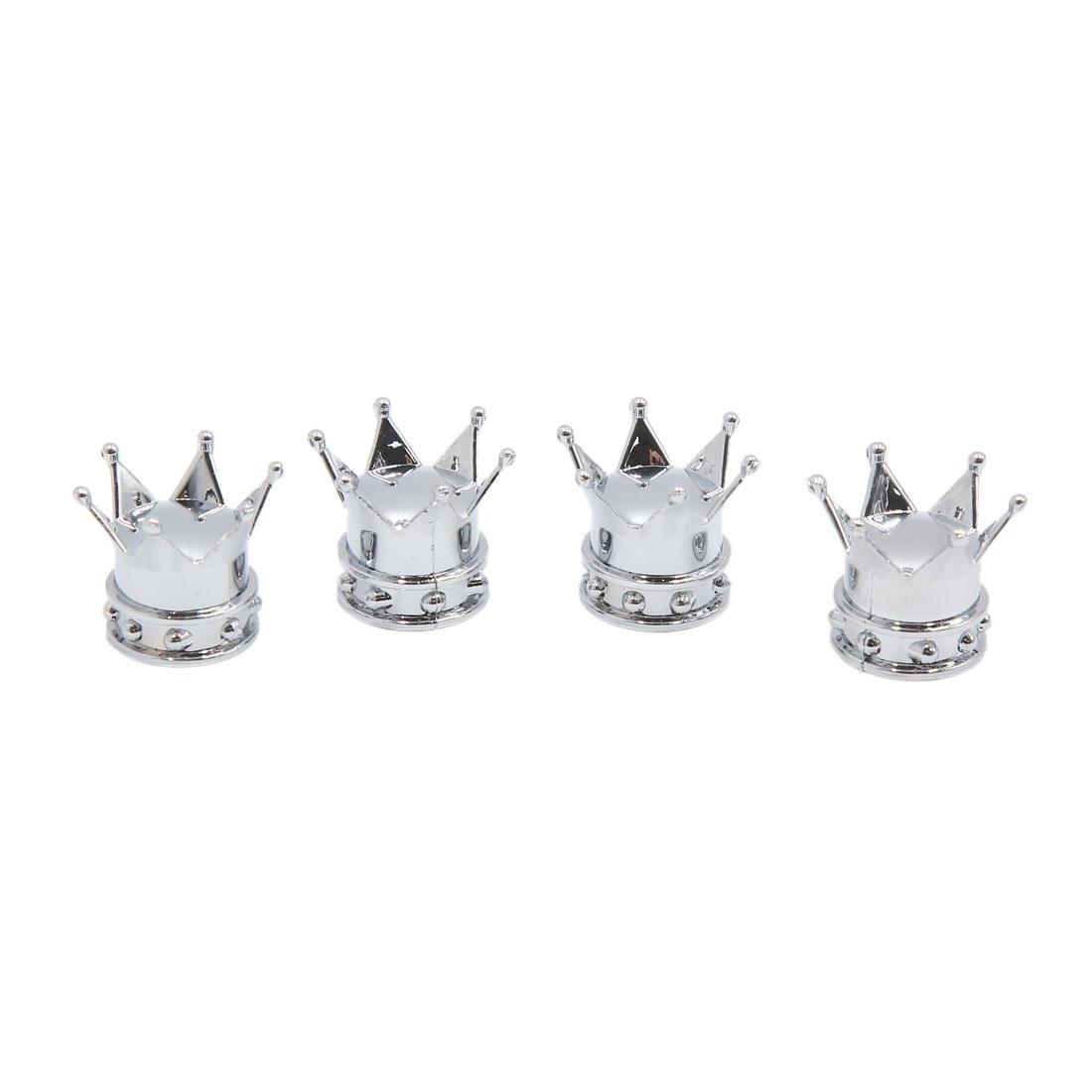 4pcs Silver Tone Crown Shaped Car Tire Tyre Valve Stem Protective Cap Cover