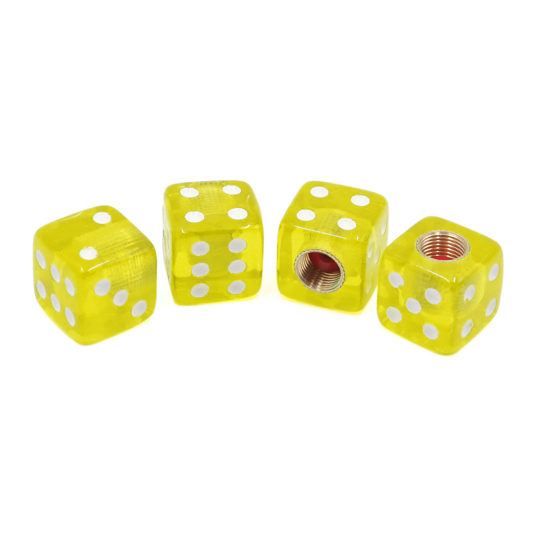 4pcs Yellow Dice Shaped Design Vehicle Car Tire Tyre Valve Protective Cap Cover